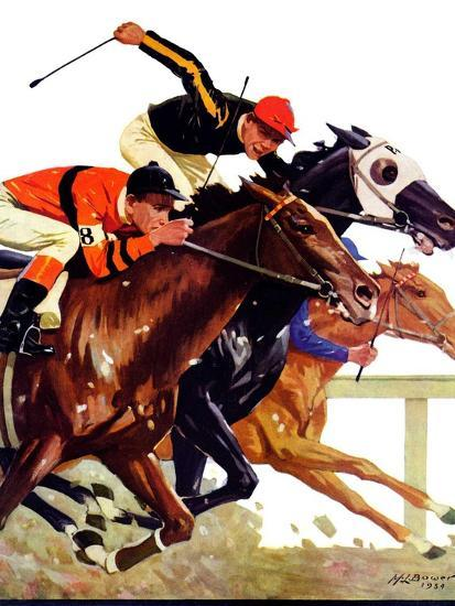 """""""Thoroughbred Race,""""August 4, 1934-Maurice Bower-Giclee Print"""