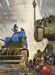 Tanks Roll Out of an American Assembly Line During World War Ii by Thorton Oakley