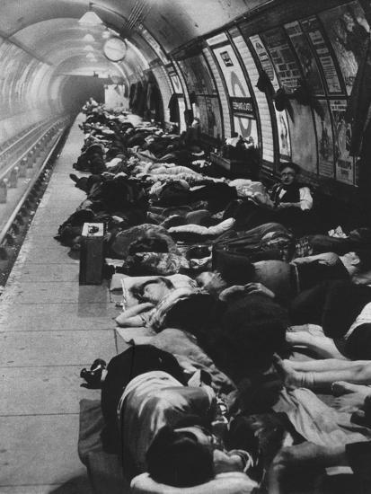 'Those who went to shelters began a new kind of night-life, 11th November, 1940', 1942-Unknown-Photographic Print