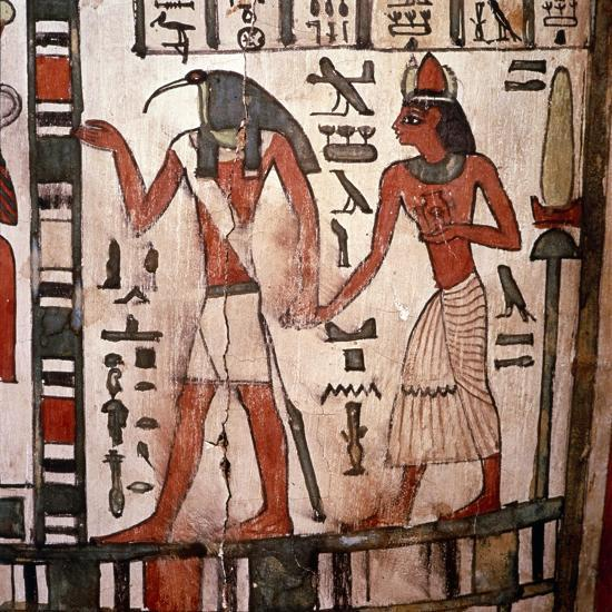 Thoth, Ibis-headed god leads the deceased to the Underworld, Mummy-case of Pensenhor, c900BC-Unknown-Giclee Print