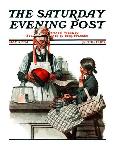 """Thoughtful Shopper"" Saturday Evening Post Cover, May 3,1924-Norman Rockwell-Giclee Print"
