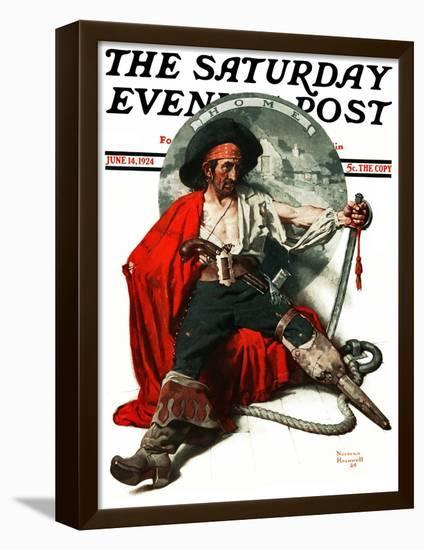"""""""Thoughts of Home"""" Saturday Evening Post Cover, June 14,1924-Norman Rockwell-Framed Stretched Canvas Print"""