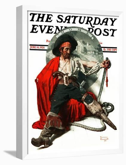 """""""Thoughts of Home"""" Saturday Evening Post Cover, June 14,1924-Norman Rockwell-Framed Premier Image Canvas"""