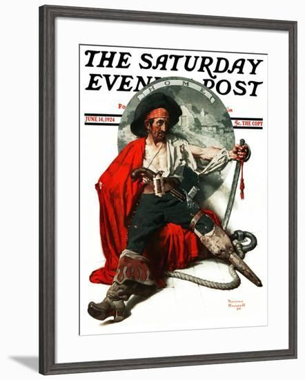 """""""Thoughts of Home"""" Saturday Evening Post Cover, June 14,1924-Norman Rockwell-Framed Giclee Print"""