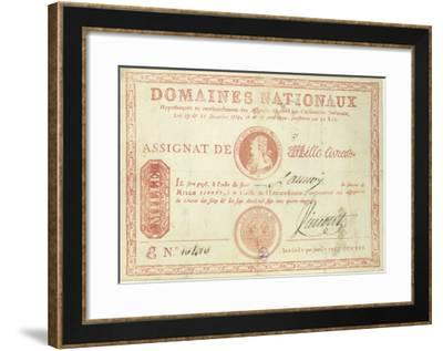 Thousand Livre Banknote with a Picture of Louis XVI--Framed Giclee Print