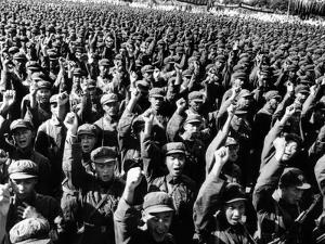 Thousands of Red Army Soldiers Raise their Clenched Fists