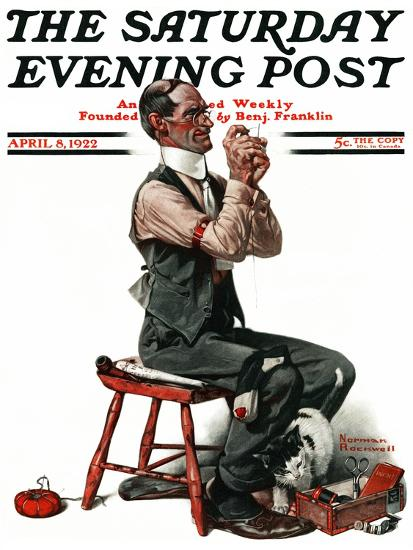 """""""Threading the Needle"""" Saturday Evening Post Cover, April 8,1922-Norman Rockwell-Giclee Print"""