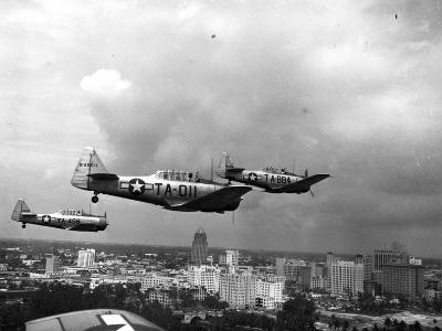 Three Air Force Planes Take Part in a Simulated Air Attack over Downtown Miami, 1946--Photographic Print