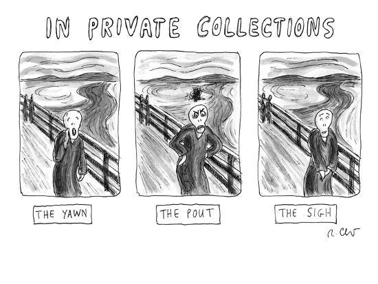 "Three alternate versions of Edward Munch's ""The Scream"": ""The Yawn,"" ""The ? - New Yorker Cartoon-Roz Chast-Premium Giclee Print"