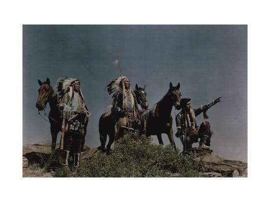 Three American Indians on the Crow Reservation-Edwin L^ Wisherd-Photographic Print