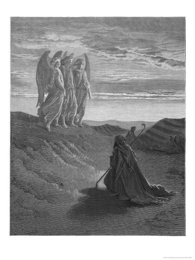 Three Angels Appear to Abraham and Inform Him of God's Intentions-Gustave Dor?-Giclee Print