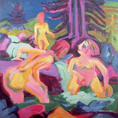 Three Bathers in a Stream-Ernst Ludwig Kirchner-Giclee Print