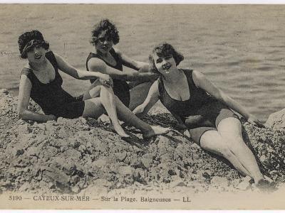 Three Bathing Beauties Relaxing by the Sea at Cayeux-Sur-Mer, France--Photographic Print