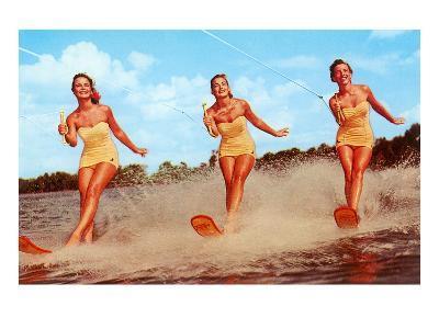 Three Bathing Beauties Waterskiing--Art Print