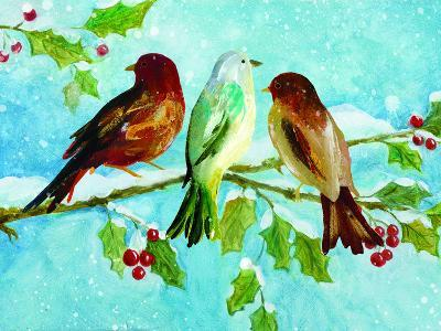 Three Birds On Holly-Advocate Art-Art Print