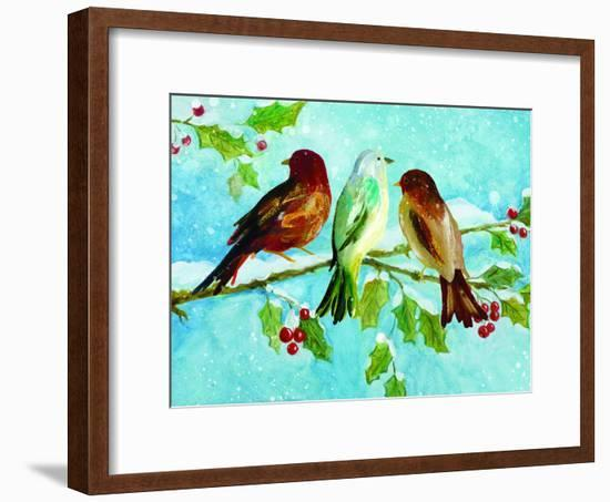 Three Birds On Holly-Advocate Art-Framed Art Print