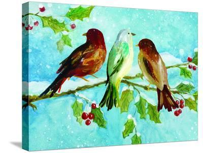 Three Birds On Holly-Advocate Art-Stretched Canvas Print