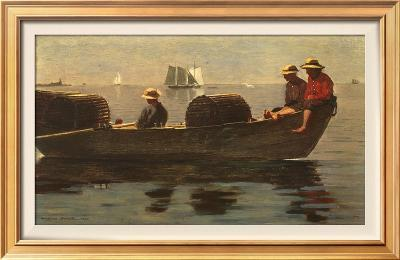 Three Boys in a Dory-Winslow Homer-Framed Textured Art