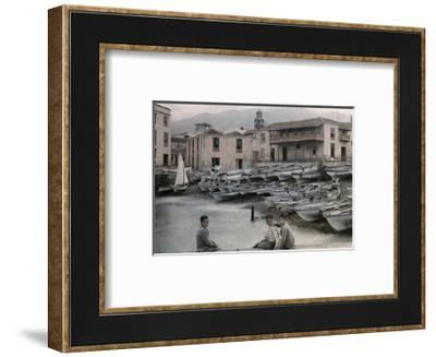 Three Boys Pose by the Island's Harbor, Where the Fishing Fleet Rests-Wilhelm Tobien-Framed Photographic Print