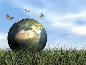 Three Butterflies Flying around Earth Globe