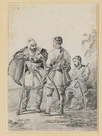 Three Caucasian Men in Conversation-Alexander Orlowski-Giclee Print