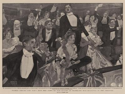 Three Cheers for 'B-P', How the News of the Relief of Mafeking Was Received in the Theatre-Frank Craig-Giclee Print