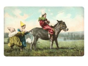 Three Child-Clowns with Burro