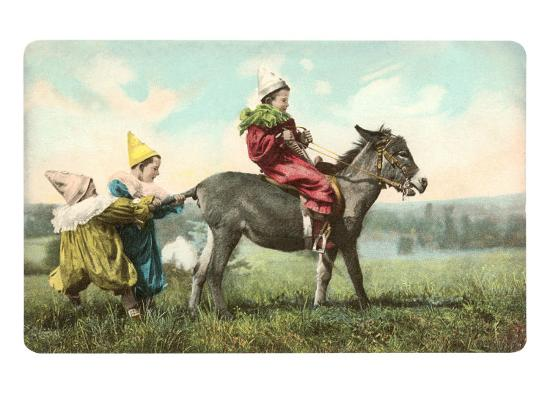 Three Child-Clowns with Burro--Art Print