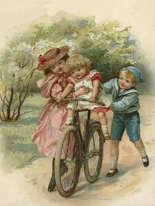 Three Children Playing with a Bicycle