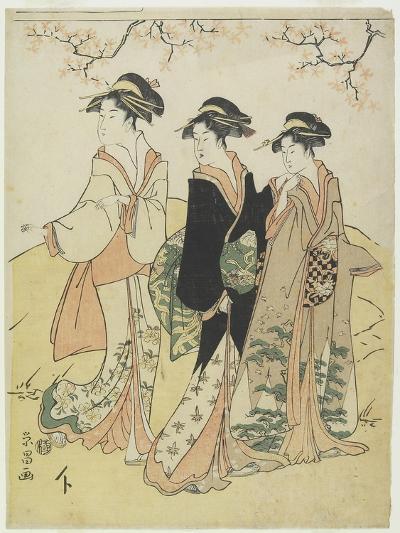 Three Courtesans under Cherry Tree, C. 1790s-Hosoda Eisho-Giclee Print