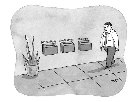 Three different boxes for: 'Suggestions, Complaints, and Issues.' - New Yorker Cartoon-Kim Warp-Premium Giclee Print
