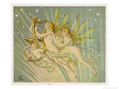 Three Fairy Musicians Wearing Sashes Fly Through the Air Making Music as They Go-Emily Gertrude Thomson-Giclee Print