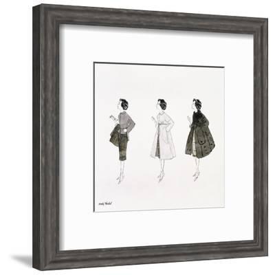 Three Female Fashion Figures, c. 1959-Andy Warhol-Framed Art Print