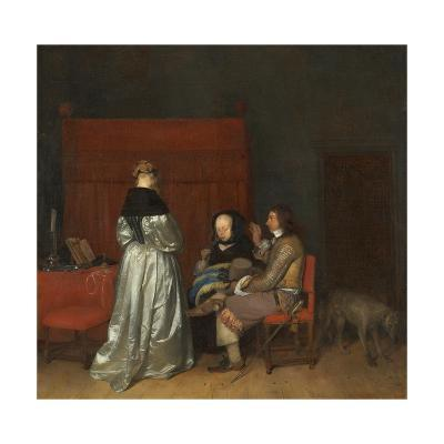 Three Figures Conversing in an Interior, known as 'The Paternal Admonition,'-Gerard ter Borch-Giclee Print
