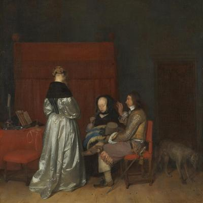 Three Figures Conversing in an Interior (The Paternal Admonitio), Ca 1654-Gerard Ter Borch the Younger-Giclee Print