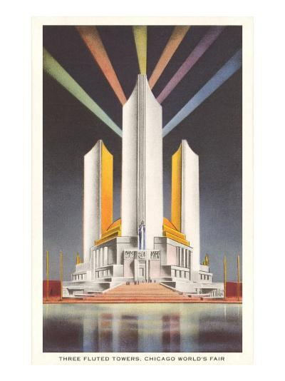 Three Fluted Towers, Chicago World's Fair--Art Print
