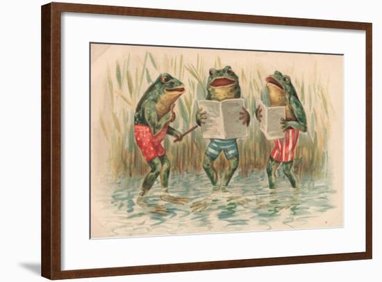 Three Frogs Singing-English School-Framed Giclee Print