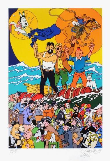 Three full moons for Tintin-Err? (Gudmundur Gudmundsson)-Limited Edition
