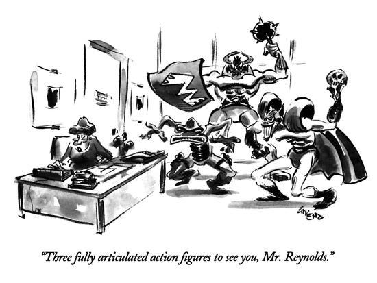 """""""Three fully articulated action figures to see you, Mr. Reynolds."""" - New Yorker Cartoon-Lee Lorenz-Premium Giclee Print"""
