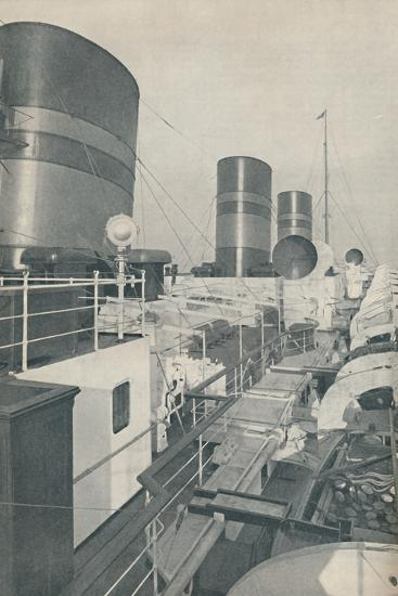 'Three Funnels of the Monarch of Bermuda, the Furness Withy luxury liner', 1937-Unknown-Photographic Print