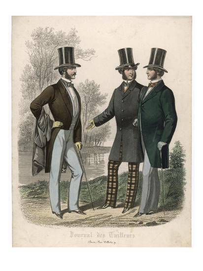 Three Gentlemen Meet and Talk in a Park--Giclee Print