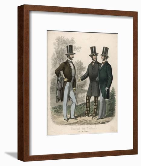 Three Gentlemen Meet and Talk in a Park--Framed Giclee Print