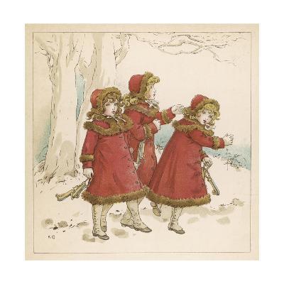 Three Girls in Snow 1900-Kate Greenaway-Giclee Print