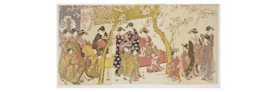 Three Groups of Courtesans with their Shinzo and Kamuro-Kitagawa Utamaro-Giclee Print