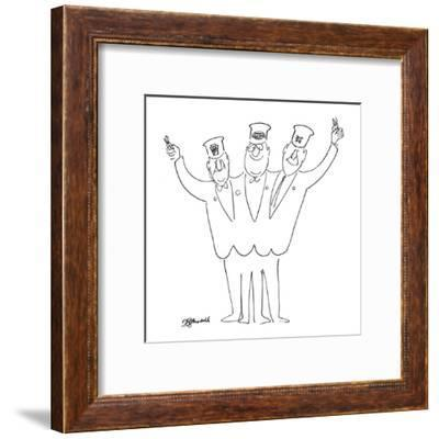 Three-headed train conductor waves ticket punchers. On each head is a diff? - New Yorker Cartoon-Frank Modell-Framed Premium Giclee Print