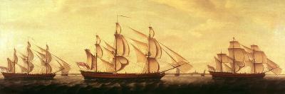 Three Hudson Bay Ships in the Thames-Francis Holman-Giclee Print