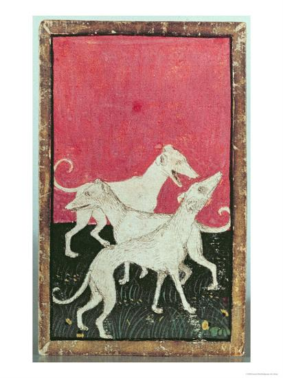 Three Hunting Dogs, One of a Set of Playing Cards, Courtly Hawking, Upper Rhein Are, c.1440-45-Konrad Witz-Giclee Print