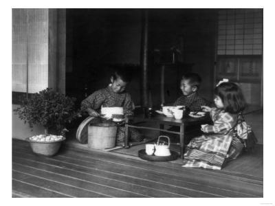 Three Japanese Children Having a Tea Party Photograph - Japan-Lantern Press-Art Print