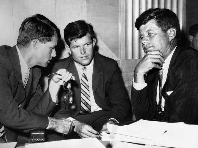 Three Kennedy Brothers at Rackets Hearing--Photo