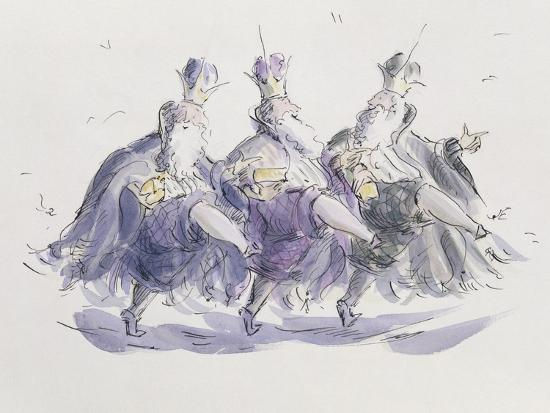 Three Kings Dancing a Jig-Joanna Logan-Giclee Print
